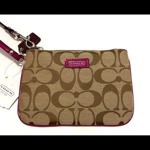Coach Signature Brown and Pink Wristlet